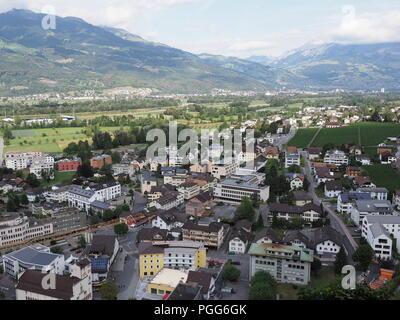 Scenic view on cityscape landscape of small european capital city of Vaduz in Liechtenstein - Stock Photo