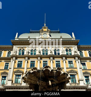 Central Post Office and Middle European Postal and Telegraph Museum, Piazza Vittorio Veneto Square. Trieste, Italy, Europe. Clear blue sky, copy space - Stock Photo