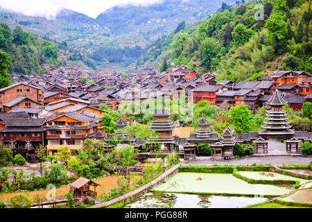 Dong Village,Ancient Architecture,Customs,Dress,Best Preserved in China,Zhaoxing Village,Guizhou Province,PRC,People's Republic of China,China - Stock Photo