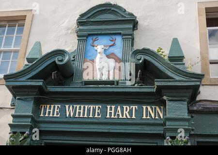 The White Hart Inn sign, Grassmarket, Edinburgh, Scotland, UK - Stock Photo
