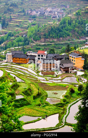 Locals,Farmers,Rice terraces,Drum Tower,Old Architecture,Dong Village,Tang An,Tagan,Near Zhaoxing,Hunan Province,PRC,People's Republic of China,China - Stock Photo
