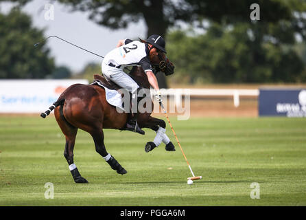Prince Harry plays in the Sentebale ISPS Handa Polo Cup at the Royal County of Berkshire Polo Club  Featuring: Prince Harry, Harry Duke of Sussex Where: Windsor, United Kingdom When: 26 Jul 2018 Credit: John Rainford/WENN - Stock Photo