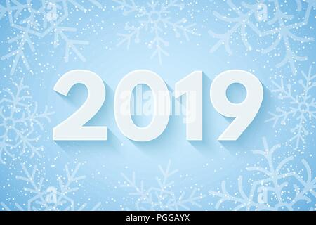 Greeting Card Vector Illustration Happy New Year 2019 Festive Cover For Your Project Falling Snowflakes On A Light