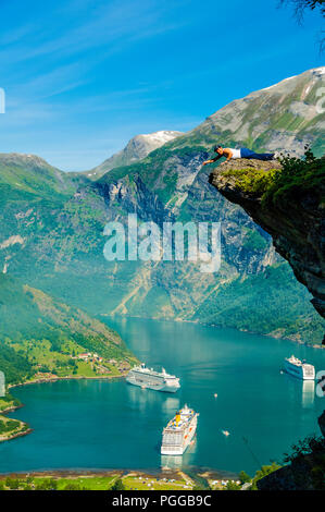 By the famous Geirangerfjord in Norway, now on the Unesco World Heritage list. - Stock Photo
