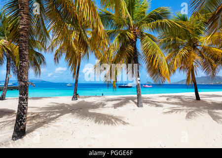 Idyllic tropical beach with white sand, palm trees and turquoise Caribbean sea water on exotic island in St Vincent and the Grenadines - Stock Photo