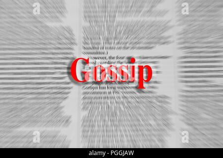 Gossip written in red with a newspaper article blurred in the background - Stock Photo