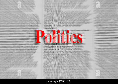 Politics written in red with a newspaper article blurred in the background - Stock Photo