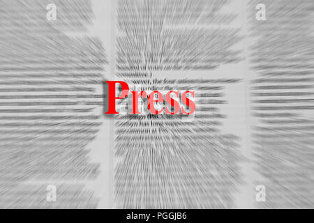 Press written in red with a newspaper article blurred in the background - Stock Photo