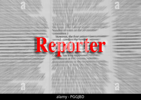 Reporter written in red with a newspaper article blurred in the background - Stock Photo