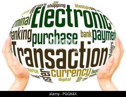 Electronic Transaction word cloud hand sphere concept on white background. - Stock Photo