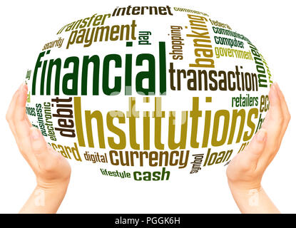 Financial Institutions word cloud hand sphere concept on white background. - Stock Photo