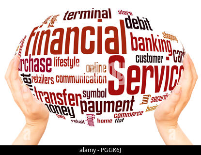 Financial Services word cloud hand sphere concept on white background. - Stock Photo