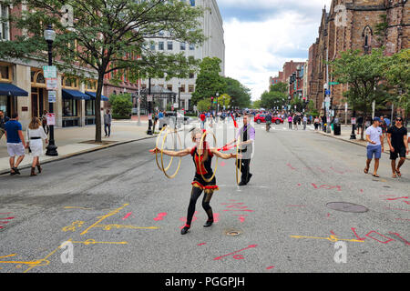 Boston, MA, USA-October 29, 2018: Newbury Street festival in downtown - Stock Photo