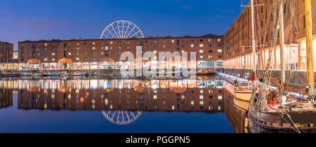 Panoramic Sunset dusk at UNESCO world heritage site the Royal Albert Dock Liverpool at Pier head in Liverpool England UK. - Stock Photo