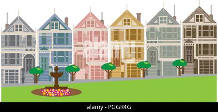 Painted Ladies Victorian and Edwardian row houses by Alamo Square in San Francisco California color Illustration - Stock Photo