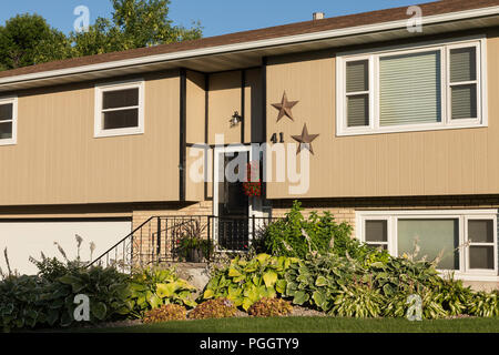 Residential House Exterior in Middle Class Neighborhood, MT, USA - Stock Photo