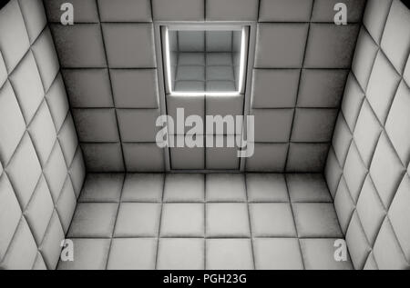 An empty white padded cell in a mental hospital - 3D render - Stock Photo