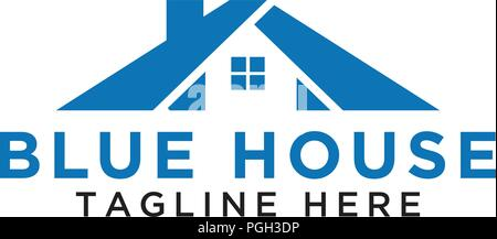 Simple blue house logo design template vector - Stock Photo