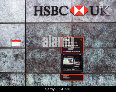 HSBC Bank Cash Machine in the City of London Financial District - Stock Photo