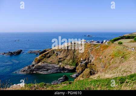 The most southerly point and Polpeor Cove Lizard cornwall England UK Lizard Head - Stock Photo