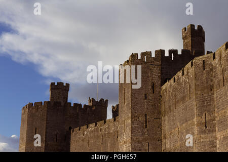 December 2017, North Wales, UK - walls and towers of 13th century Conwy castle, built by Edward I, during his conquest of Wales; it is UNESCO World He - Stock Photo