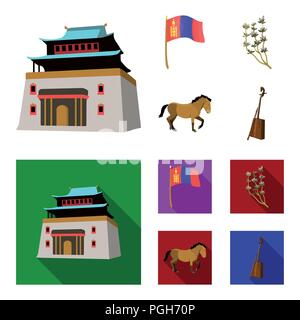 National flag, horse, musical instrument, steppe plant. Mongolia set collection icons in cartoon,flat style vector symbol stock illustration . - Stock Photo