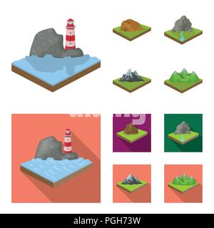 Mountains, rocks and landscape. Relief and mountains set collection icons in cartoon,flat style isometric vector symbol stock illustration . - Stock Photo