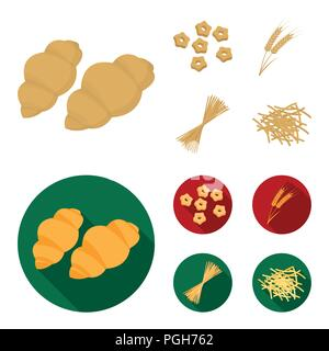 Different types of pasta. Types of pasta set collection icons in cartoon,flat style vector symbol stock illustration . - Stock Photo