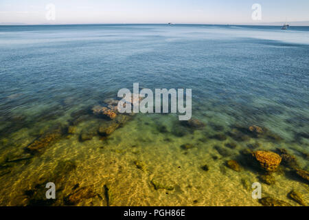 Deep blue lake with clean fresh water. - Stock Photo