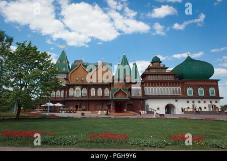 The Wooden Palace or the Palace of the Tsar Alexey Mikhailovich Kolomenskoye, Moscow - Stock Photo