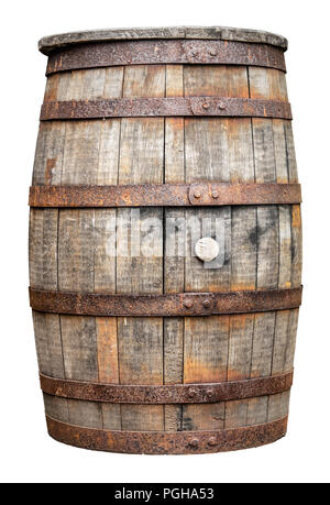 An Isolated Rustic Old Beer, Wine, Whiskey, Rum Or Brandy Barrel Or Cask On A White Background - Stock Photo