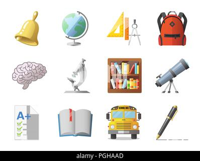 Set of school icons, shool supplies and transport - Stock Photo