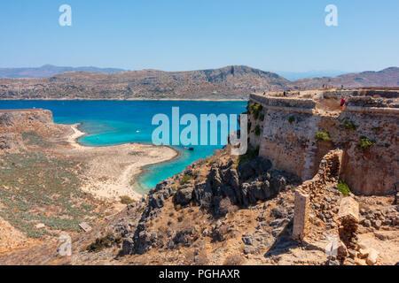 Venetian fortress on Gramvousa island overlooking western coast of Crete - Stock Photo