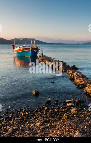 Fishing boat at down, Gulf of Mirabello, Crete - Stock Photo