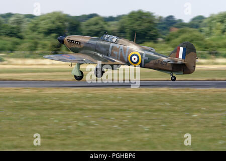 Hawker Hurricane LF363 of the Royal Air Force Battle of Britain Memorial Flight (BBMF) takes off from RAF Fairford at the RIAT - Stock Photo