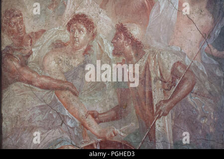 Achilles dressed as woman discovered by Odysseus and Diomedes at Scyros depicted in the Roman fresco from the House of the Dioscuri (Casa dei Dioscuri) in Pompeii (1-79 AD), now on display in the National Archaeological Museum (Museo Archeologico Nazionale di Napoli) in Naples, Campania, Italy. - Stock Photo