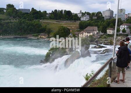 Rhine Falls (Rheinfall) waterfalls, Neuhausen near Schaffhausen, Canton Schaffhausen, Switzerland - Stock Photo