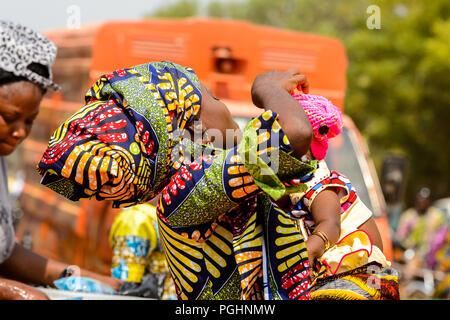 Africa Benin Ouidah Local Woman Dancing With Tourist