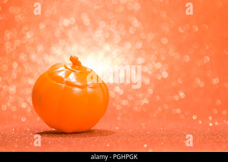 Halloween background decoration holiday concept. pumpkin on bright colorful orange backdrop. - Stock Photo