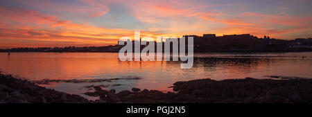 Plymouth Blazing Sunset from Mountbatten - Stock Photo