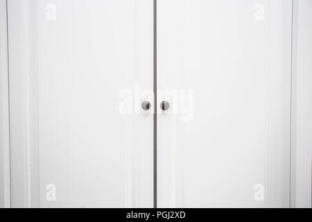... White Wooden Closet Doors Close Up Background Texture Modern Design    Stock Photo