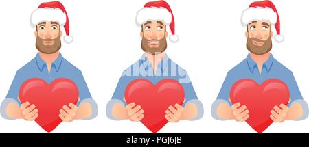 Man gives heart. Man holding red heart. Businessman in Santa Claus hat vector illustration set - Stock Photo