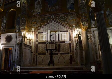Interior of the Capella Palatina in Palazzo dei Normanni (Norman Palace) - Stock Photo