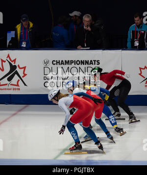 Four female short track speed skaters from the Czech Republic, Sweden and Singapore at the starting line with officials shown in Montreal. March 2018. - Stock Photo