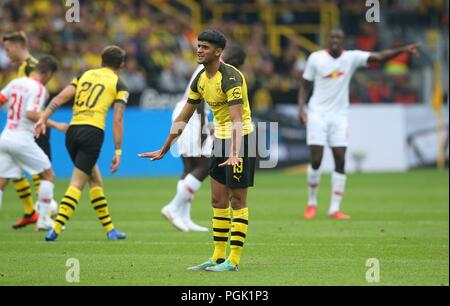 firo: 26.08.2018, Football, 1.Bundesliga, Season 2018/2019, BVB, Borussia Dortmund - RB, Red Bull Leipzig 4: 1 Mahmoud DAHOUD, BVB, gesture | - Stock Photo
