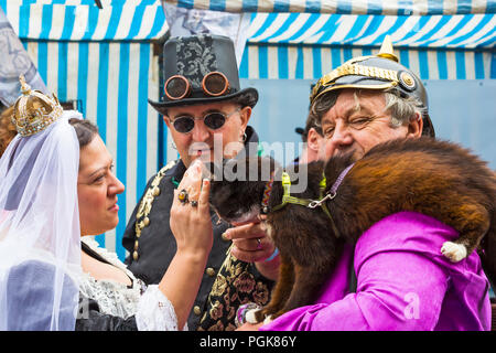 Lincoln, UK. 27th Aug 2018. The Asylum Steampunk Festival at Lincoln, in its 10th year, attracts visitors from all over the world. The biggest and longest steampunk festival in Europe, celebrates a steam powered world in the late 19th century, dressing in Victorian style with accessories that look like parts of machinery, cogs and gears. Credit: Carolyn Jenkins/Alamy Live News - Stock Photo
