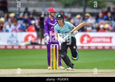 Hove, UK. 27th Aug 2018. Natalie Sciver (C) of Surrey Stars in action during todays match during the Kia Supper League Finals 2018 - Final between Loughborough Lightning and Surrey Stars at 1st Central County Ground on Monday, 27 August 2018. Hove, ENGLAND. Credit: Taka G Wu Credit: Taka Wu/Alamy Live News - Stock Photo