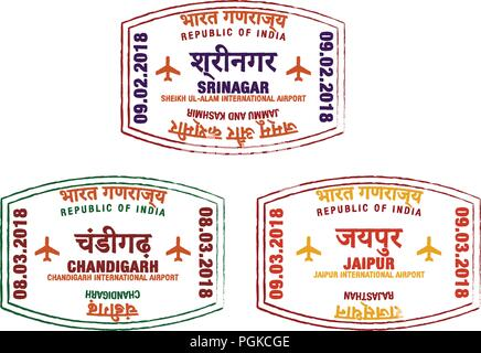 Set of stylised passport stamps for major airports of northern India in vector format. - Stock Photo