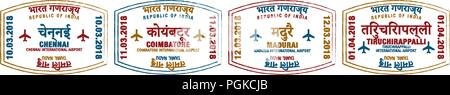 Set of stylised passport stamps for major airports of Southern India in vector format. - Stock Photo