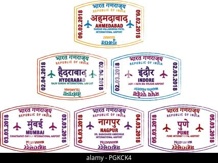 Set of stylised passport stamps for major airports of western India in vector format. - Stock Photo